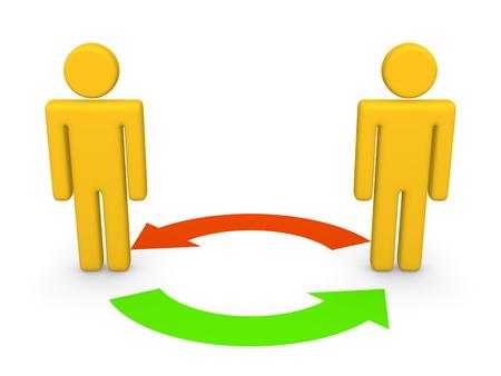 Photo pour Exchange between two 3d people. 3d rendering. - image libre de droit