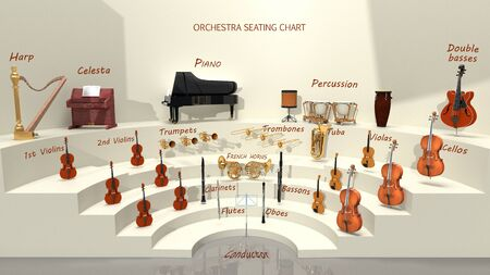 Photo pour Orchestra seating chart - musical instrument positions. 3D rendering - image libre de droit