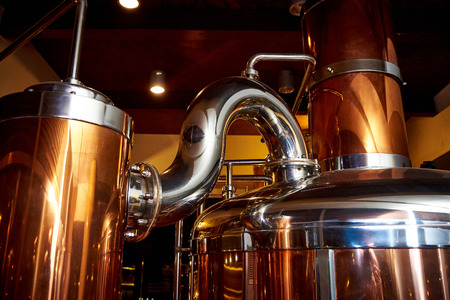 Photo pour Equipment for the preparation of beer in a private brewery - image libre de droit