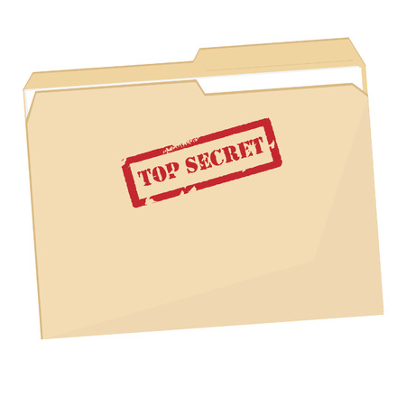 Illustration pour File folder with red rubber  stamp top secret vector isolated, confidential, private information - image libre de droit