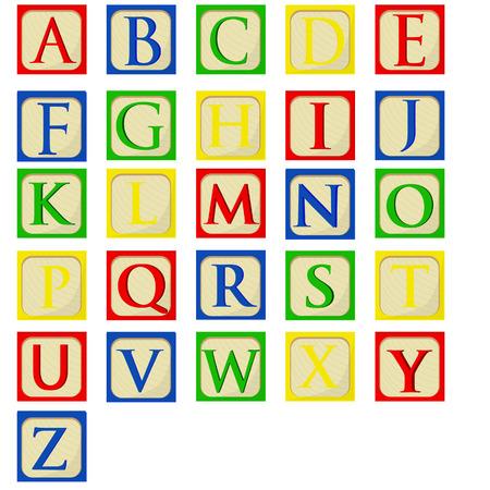 Ilustración de Colorful alphabet baby blocks vector set, building blocks, latin alphabet font - Imagen libre de derechos