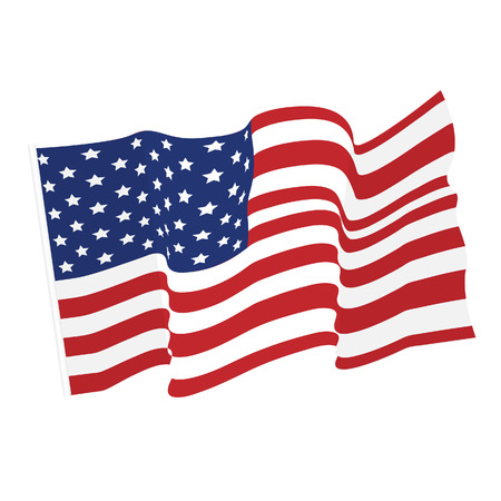 Illustration for American waving flag vector icon, national symbol, red, white and blue with stars - Royalty Free Image