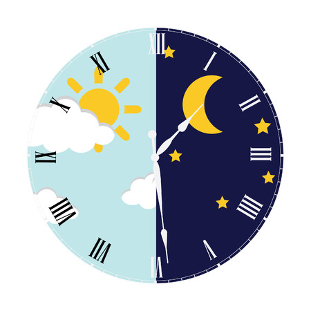 Illustration pour Clock with day night concept clock face vector illustration. Blue sky with clouds and sun. Moon and stars in the night - image libre de droit
