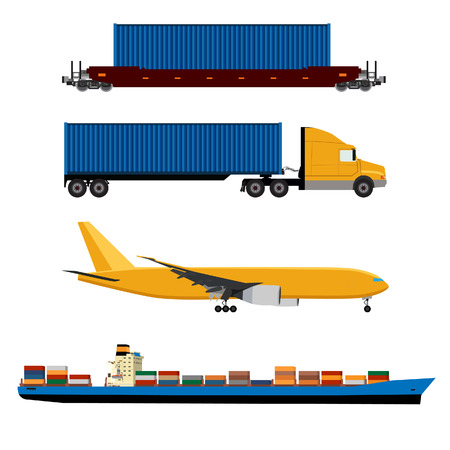 Illustration pour Vector illustration of yellow airplane, truck with container, cargo ship and ship container icon set. Maritime shipping. Logistic network. Air cargo. - image libre de droit