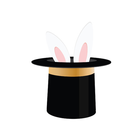 Illustration pour Magic trick rabbit in black hat cylinder. Top hat with rabbit. Vector illustration rabbit in magician hat - image libre de droit