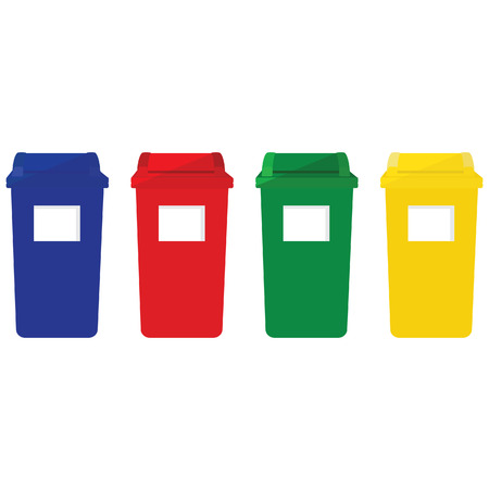 Ilustración de Four recycle bins vector icon with recycling symbol red, blue, green and yellow. Recycle bins for paper, plastic, cans and glass - Imagen libre de derechos