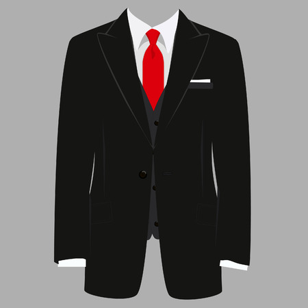 Illustrazione per Vector iillustration of  black man suit with red tie and white shirt on grey background. Business suit, business, mens suit, man in suit - Immagini Royalty Free