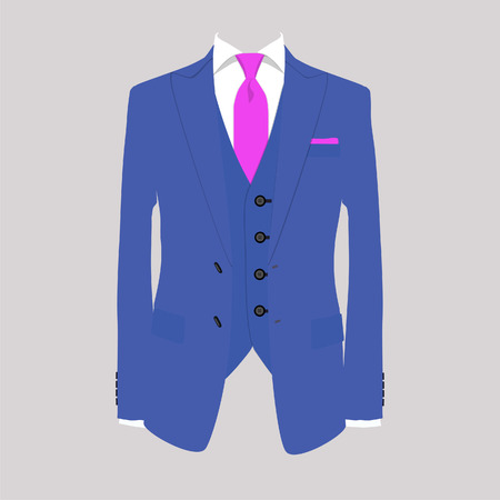 Illustrazione per Vector illustration of blue man suit with pink tie and white shirt on grey background. Business suit, business, mens suit, man in suit - Immagini Royalty Free