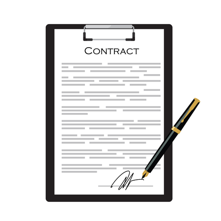 Illustration pour Business contract with signature on black clipboard with golden pen vector illustration. Contraction icon - image libre de droit
