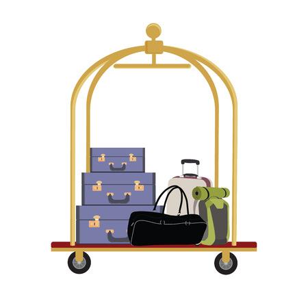 Ilustración de Vector illustration of hotel luggage cart with luggage, briefcase, backpack and bag. Luggage trolley - Imagen libre de derechos