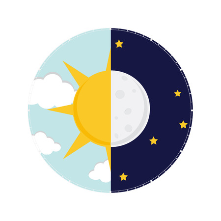 Illustration pour Vector illustration of day and night. Day night concept, sun and moon, day night icon - image libre de droit