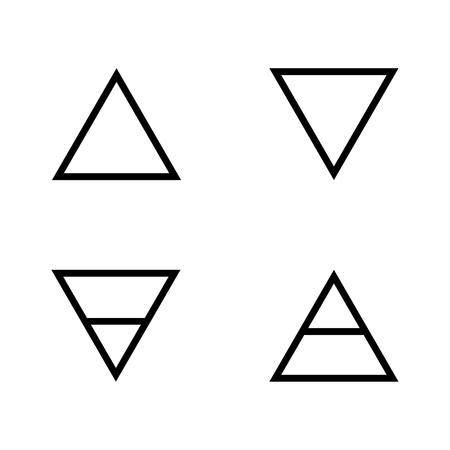 Ilustración de Vector illustration four elements icons, line symbols.  Air, fire, water and earth symbol. Alchemy icons. Four basic elements. - Imagen libre de derechos