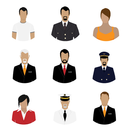 Illustration pour Vector illustration set of professions people. Flat style icons. Occupation avatar. Businessman, sea captain, pilot, soldier, businesswoman, general - image libre de droit