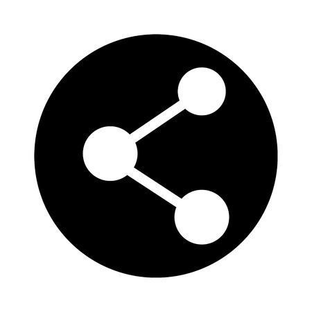 Photo pour Raster illustration share icon isolated on white background. Connection round black and white symbol, sign. - image libre de droit