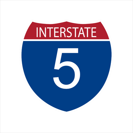 Illustration pour Vector illustration interstate highway 5 road sign icon isolated on white background - image libre de droit