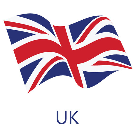 Illustration pour Vector illustration waving flag of United Kingdom of Great Britain icon. UK flag button isolated on white background - image libre de droit