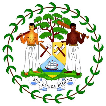 Illustration pour A Vector icon coat of arms flag of Belize. Central American country Belize flag sign, symbol - image libre de droit