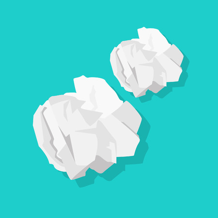 Ilustración de Crumpled paper ball vector illustration isolated on blue background - Imagen libre de derechos