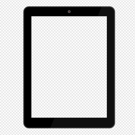Foto de Black tablet computer isolated on transparent background. Mock up - Imagen libre de derechos