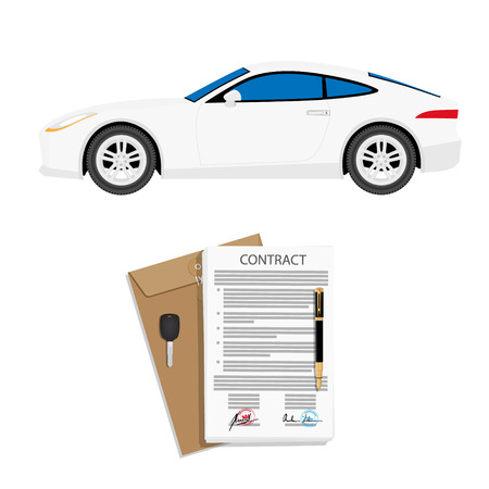 Illustration pour Rental agreement for a car with contract, pen and keys. Vector illustration - image libre de droit