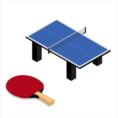 table tennis and racket isolated on white background
