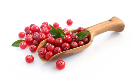 Photo for Cranberry with wooden scoop isolated over white - Royalty Free Image