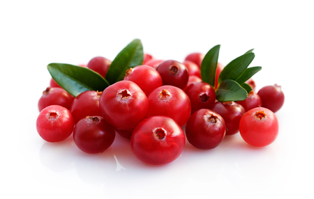 Photo for Fresh cranberries with leaves isolated on white - Royalty Free Image