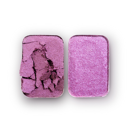 Lilac crushed eyeshadow for make up as sample of cosmetic product isolated on white background