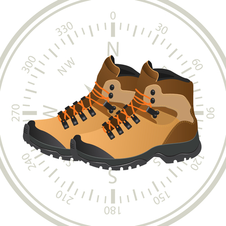 Illustration pour Tourist shoes on the background of a compass - image libre de droit