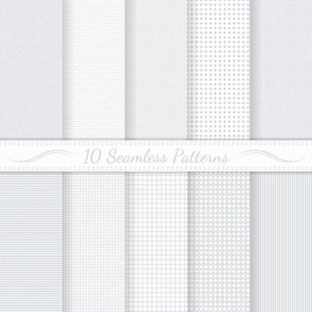 Photo pour Set of ten subtle seamless patterns  Monochrome  Classic  Swatches of seamless patterns included in the file  - image libre de droit