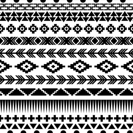 Illustration for Ethnic seamless pattern. Aztec black-white background. Vector illustration. - Royalty Free Image
