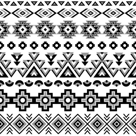 Illustration for Ethnic seamless pattern. Aztec black-white background. Tribal ethnic navajo print. Modern abstract wallpaper. Vector illustration. - Royalty Free Image