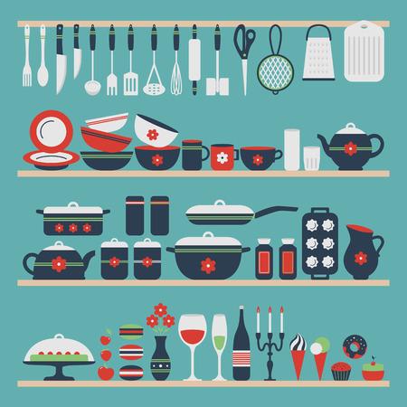 Illustration pour Set of kitchen utensils and food, objects on shelves. Cookware, home cooking background. Kitchenware. Modern design. Vector illustration. - image libre de droit