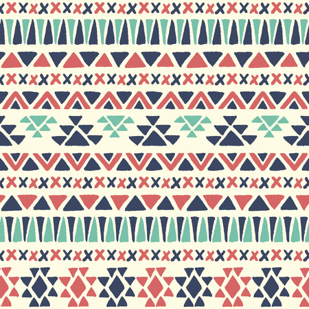 Illustration for Ethnic seamless pattern. Aztec geometric background. Hand drawn navajo fabric. Modern abstract wallpaper. Vector illustration. - Royalty Free Image