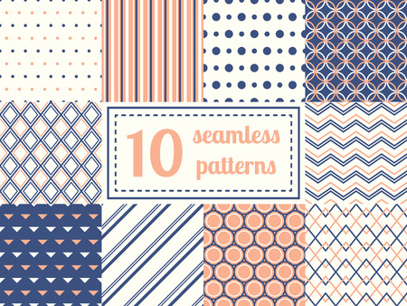 Set of ten seamless patterns in retro soft colors. Classic backgrounds. Vector illustration.