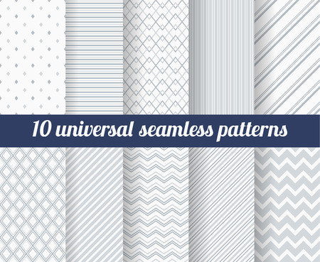 Illustrazione per Set of ten subtle seamless patterns. Classic monochrome textures. Gray colors. Vector illustration. - Immagini Royalty Free