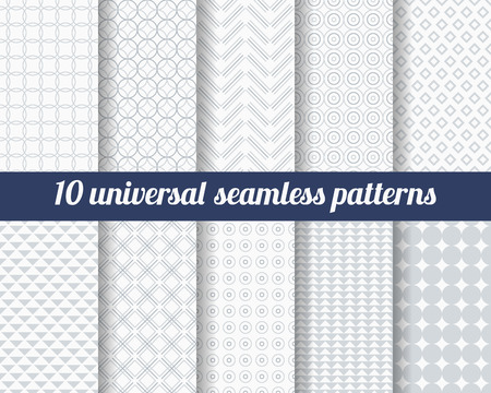 Illustration pour Set of ten subtle seamless patterns. Classic monochrome textures. Gray colors. Vector illustration. - image libre de droit