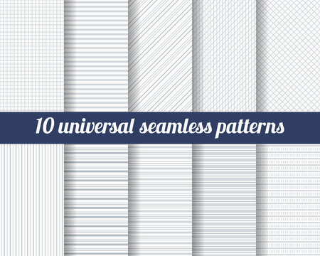 Photo for Set of ten subtle seamless patterns. Classic monochrome textures. Gray colors. Vector illustration. - Royalty Free Image