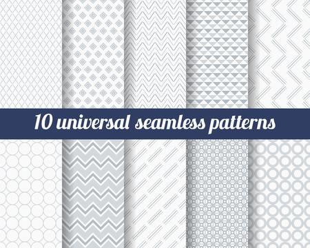 Illustration for Set of ten subtle seamless patterns. Classic monochrome textures. Gray colors. Vector illustration. - Royalty Free Image