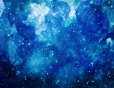 Photo for Space watercolor background. Abstract galaxy painting. Watercolor Cosmic texture with stars. Night sky - Royalty Free Image