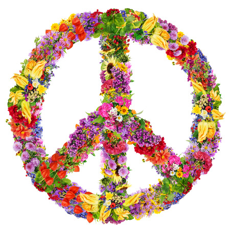 Photo pour Peace symbol abstract collage made from fresh summer flowers. Isolated - image libre de droit
