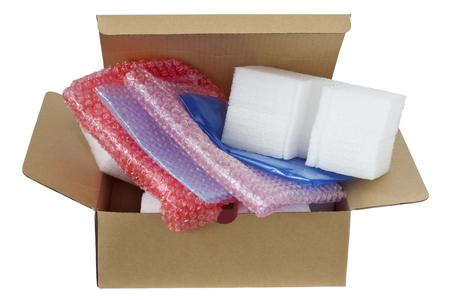 Photo for The modern plastic  safe packing materials in cardboard box for your business. Isolated with patch - Royalty Free Image
