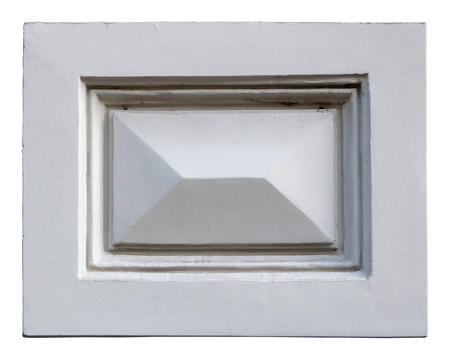 Photo pour A standard old home molding in the form of a rectangle is made of white plaster. Isolated with patch outdoor shot - image libre de droit