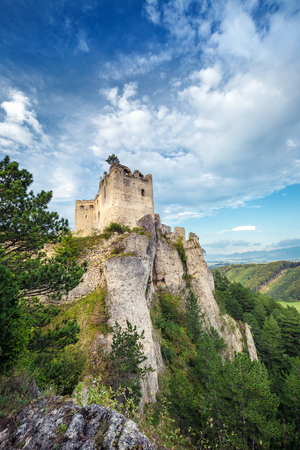 Photo for The ruins of a medieval castle Lietava on a rocky blade, nearby Zilina town, Slovakia, Europe. - Royalty Free Image
