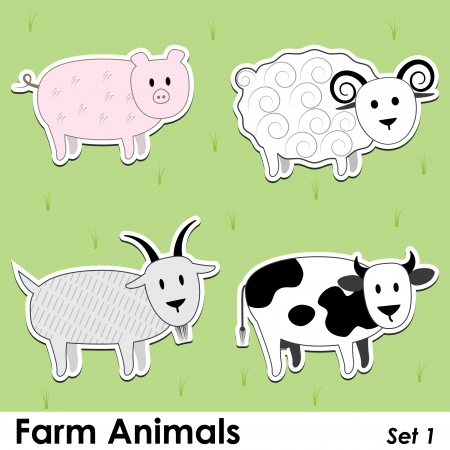 farm animals: pig, cow, goat and sheep