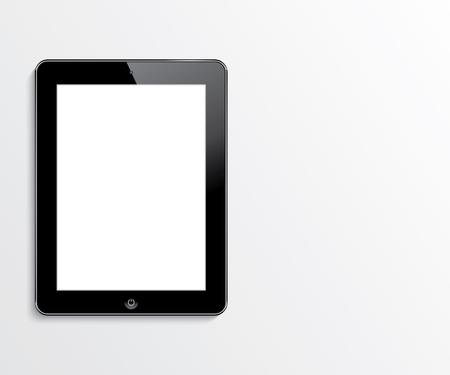 Ilustración de computer tablet with blank white screen  vector realistic illustration  eps10 - Imagen libre de derechos