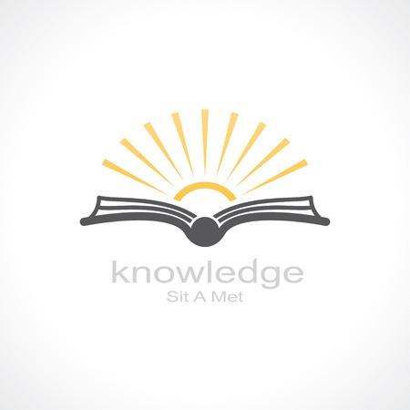 Ilustración de knowledge symbol. open book and sun. template logo design. vector eps8 - Imagen libre de derechos