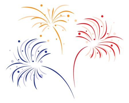 Ilustración de colored bursting fireworks on white background - Imagen libre de derechos