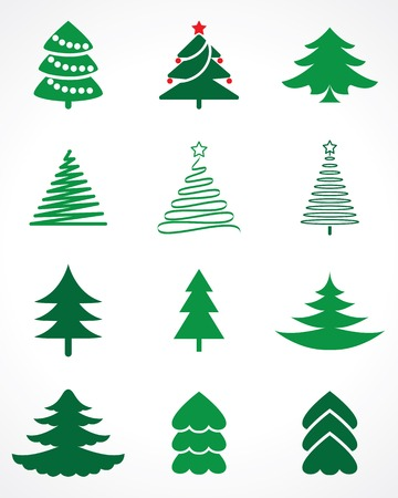 Illustration for christmas tree vector set - Royalty Free Image