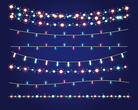 Illustration pour christmas lights festive decorations. - image libre de droit